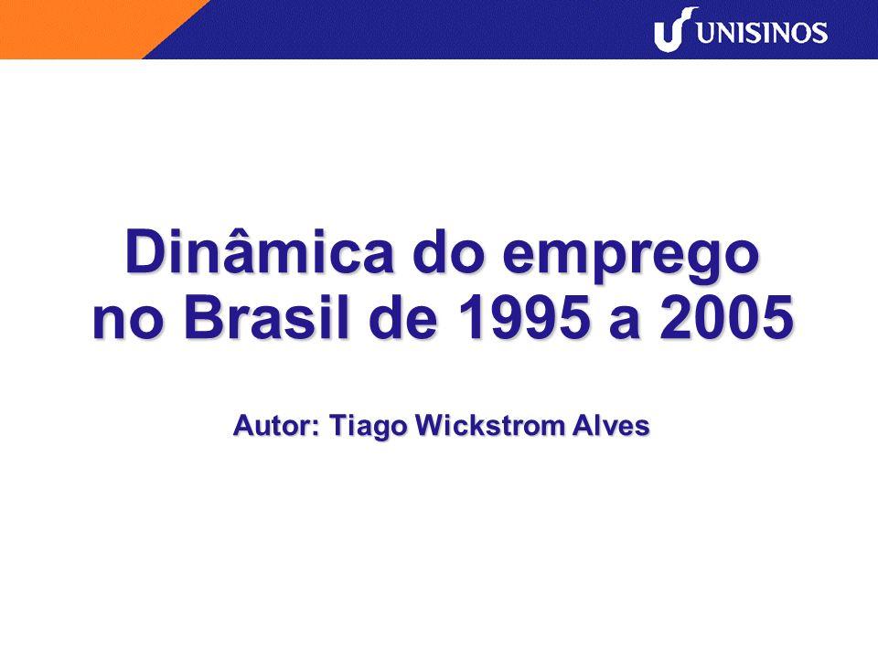 Dinâmica do emprego no Brasil de 1995 a 2005 Autor: Tiago Wickstrom Alves