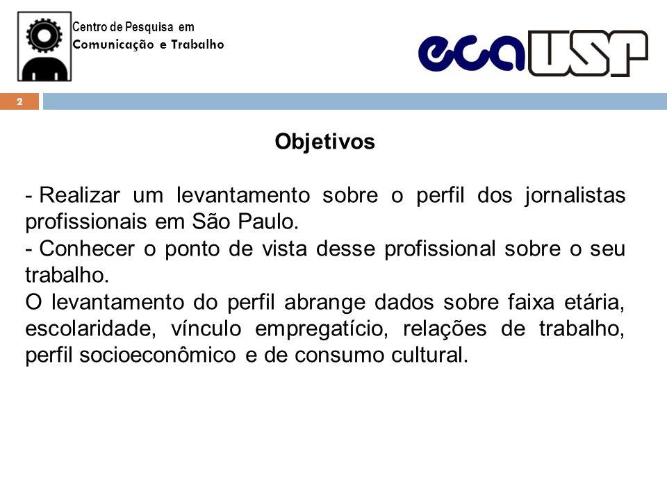Centro de Pesquisa em Comunicação e Trabalho Objetivos - Realizar um levantamento sobre o perfil dos jornalistas profissionais em São Paulo. - Conhece