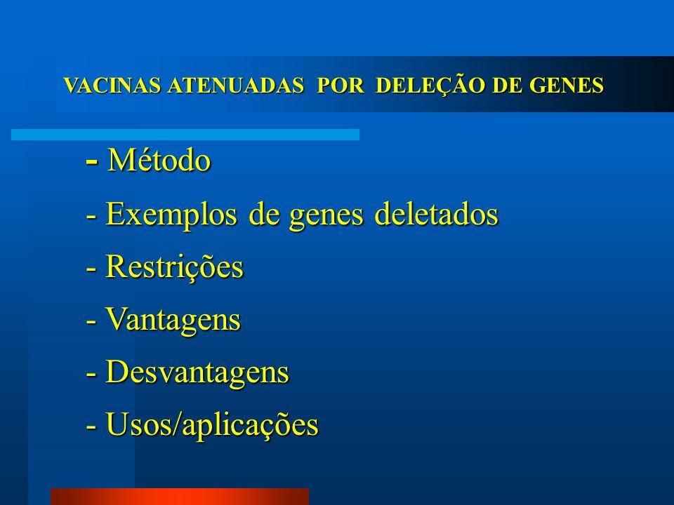 VACINAS ATENUADAS POR DELEÇÃO DE GENES - Método - Exemplos de genes deletados - Restrições - Vantagens - Desvantagens - Usos/aplicações