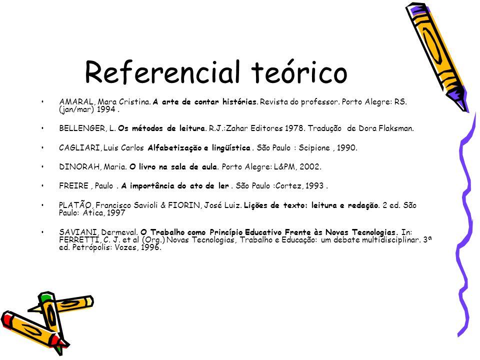 Referencial teórico AMARAL, Mara Cristina. A arte de contar histórias. Revista do professor. Porto Alegre: RS. (jan/mar) 1994. BELLENGER, L. Os método