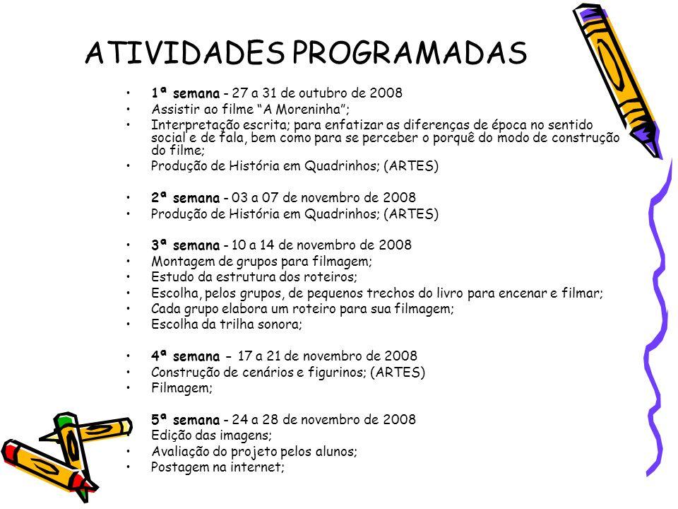 ATIVIDADES PROGRAMADAS 1ª semana - 27 a 31 de outubro de 2008 Assistir ao filme A Moreninha; Interpretação escrita; para enfatizar as diferenças de ép