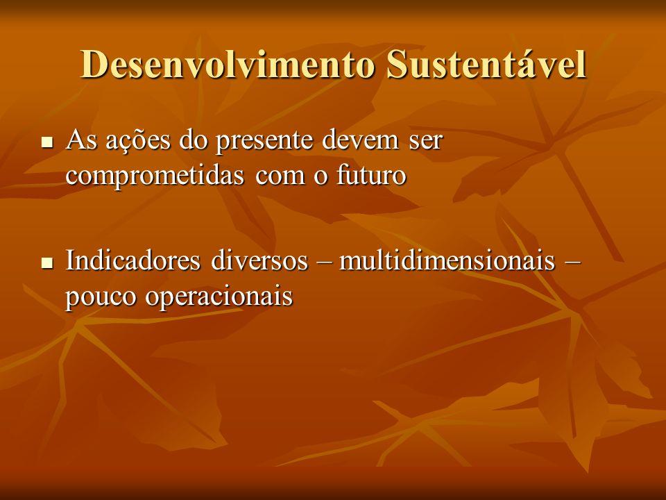 Desenvolvimento Sustentável As ações do presente devem ser comprometidas com o futuro As ações do presente devem ser comprometidas com o futuro Indicadores diversos – multidimensionais – pouco operacionais Indicadores diversos – multidimensionais – pouco operacionais