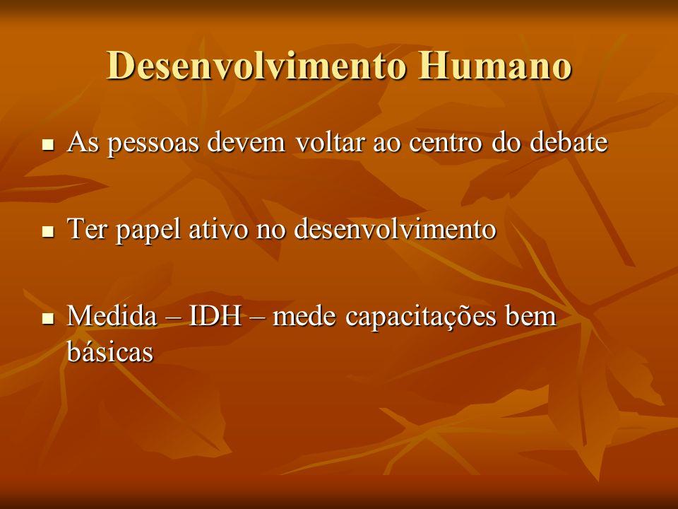 Desenvolvimento Humano As pessoas devem voltar ao centro do debate As pessoas devem voltar ao centro do debate Ter papel ativo no desenvolvimento Ter papel ativo no desenvolvimento Medida – IDH – mede capacitações bem básicas Medida – IDH – mede capacitações bem básicas