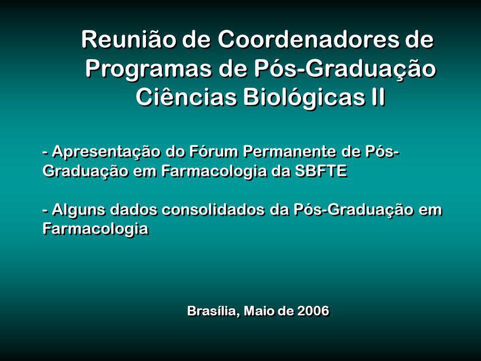 Reunião de Coordenadores de Programas de Pós-Graduação Ciências Biológicas II Reunião de Coordenadores de Programas de Pós-Graduação Ciências Biológicas II - Apresentação do Fórum Permanente de Pós- Graduação em Farmacologia da SBFTE - Alguns dados consolidados da Pós-Graduação em Farmacologia - Apresentação do Fórum Permanente de Pós- Graduação em Farmacologia da SBFTE - Alguns dados consolidados da Pós-Graduação em Farmacologia Brasília, Maio de 2006