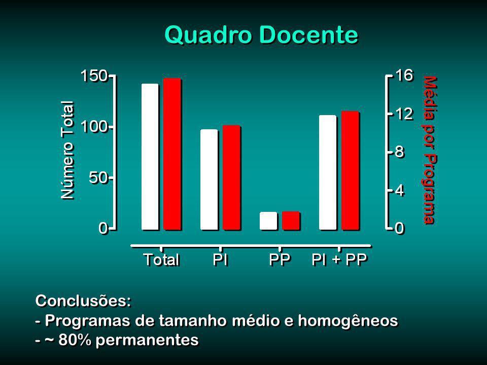 Quadro Docente Conclusões: - Programas de tamanho médio e homogêneos - ~ 80% permanentes Conclusões: - Programas de tamanho médio e homogêneos - ~ 80% permanentes