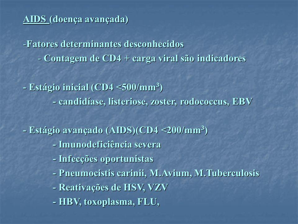 AIDS (doença avançada) -Fatores determinantes desconhecidos - Contagem de CD4 + carga viral são indicadores - Estágio inicial (CD4 <500/mm 3 ) - candi