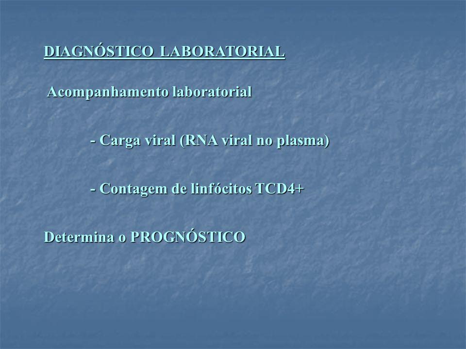 DIAGNÓSTICO LABORATORIAL Acompanhamento laboratorial Acompanhamento laboratorial - Carga viral (RNA viral no plasma) - Contagem de linfócitos TCD4+ De