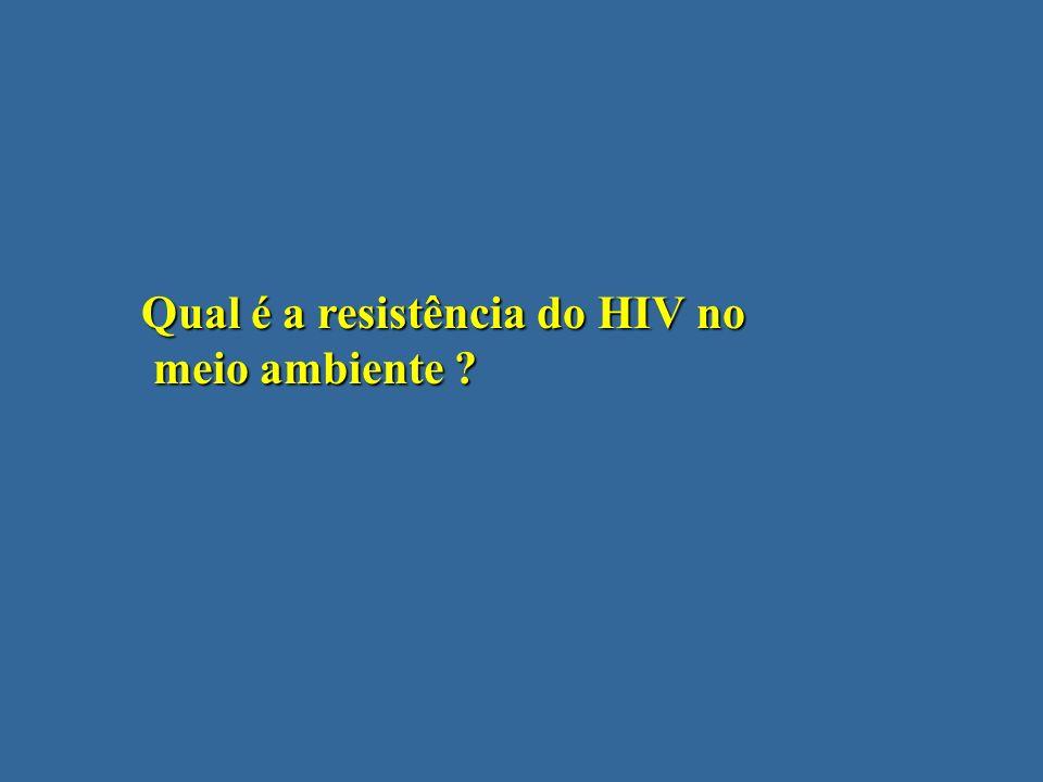 Qual é a resistência do HIV no meio ambiente ? meio ambiente ?