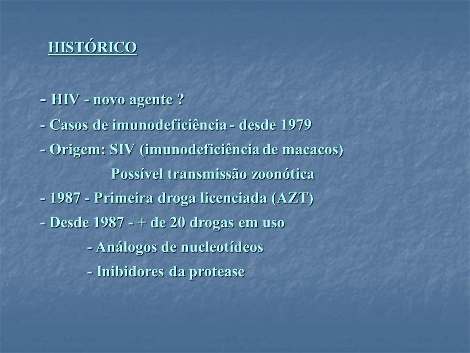 HISTÓRICO - HIV - novo agente ? - Casos de imunodeficiência - desde 1979 - Origem: SIV (imunodeficiência de macacos) Possível transmissão zoonótica Po