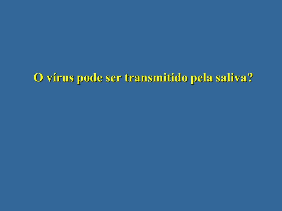 O vírus pode ser transmitido pela saliva?
