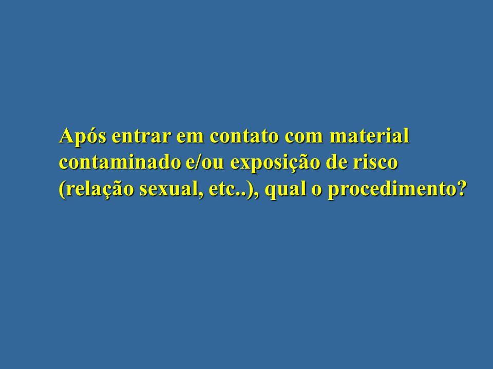 Após entrar em contato com material contaminado e/ou exposição de risco (relação sexual, etc..), qual o procedimento?