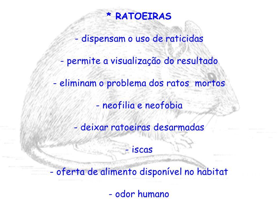 * RATOEIRAS - dispensam o uso de raticidas - permite a visualização do resultado - eliminam o problema dos ratos mortos - neofilia e neofobia - deixar