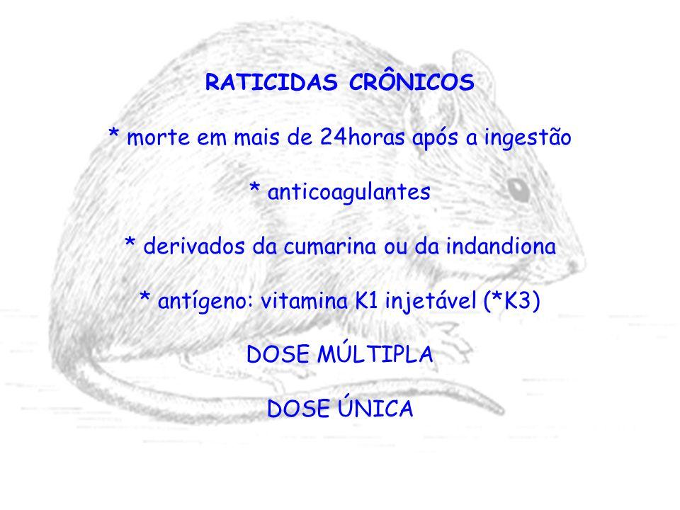 RATICIDAS CRÔNICOS * morte em mais de 24horas após a ingestão * anticoagulantes * derivados da cumarina ou da indandiona * antígeno: vitamina K1 injet