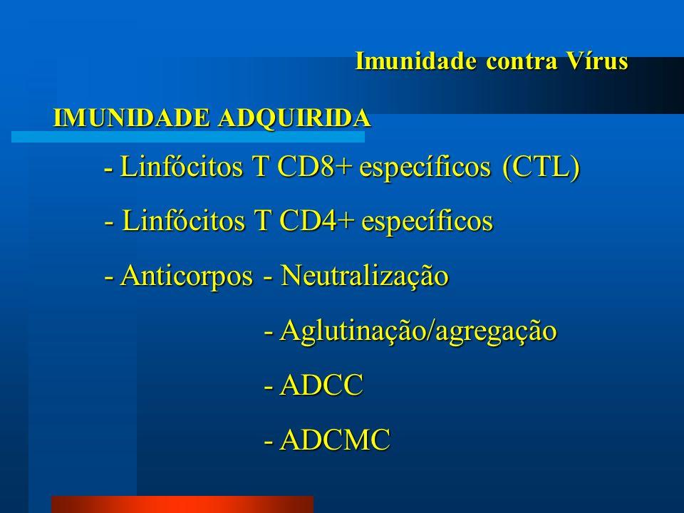 Imunidade contra Vírus IMUNIDADE ADQUIRIDA - Linfócitos T CD8+ específicos (CTL) - Linfócitos T CD4+ específicos - Anticorpos - Neutralização - Agluti