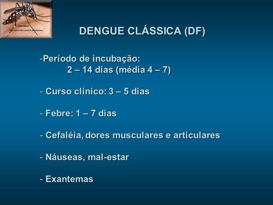 DENGUE CLÁSSICA (DF) -Período de incubação: 2 – 14 dias (média 4 – 7) - Curso clínico: 3 – 5 dias - Febre: 1 – 7 dias - Cefaléia, dores musculares e a