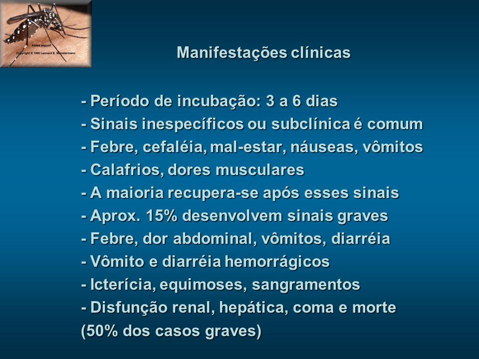 Manifestações clínicas - Período de incubação: 3 a 6 dias - Sinais inespecíficos ou subclínica é comum - Febre, cefaléia, mal-estar, náuseas, vômitos