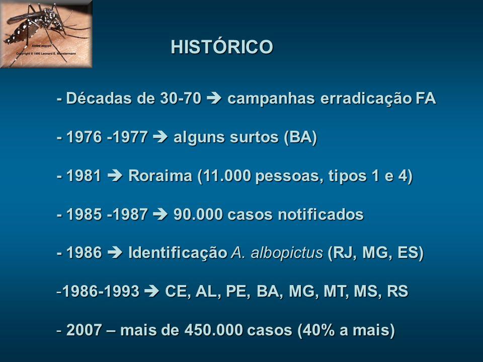 HISTÓRICO - Décadas de 30-70 campanhas erradicação FA - 1976 -1977 alguns surtos (BA) - 1981 Roraima (11.000 pessoas, tipos 1 e 4) - 1985 -1987 90.000