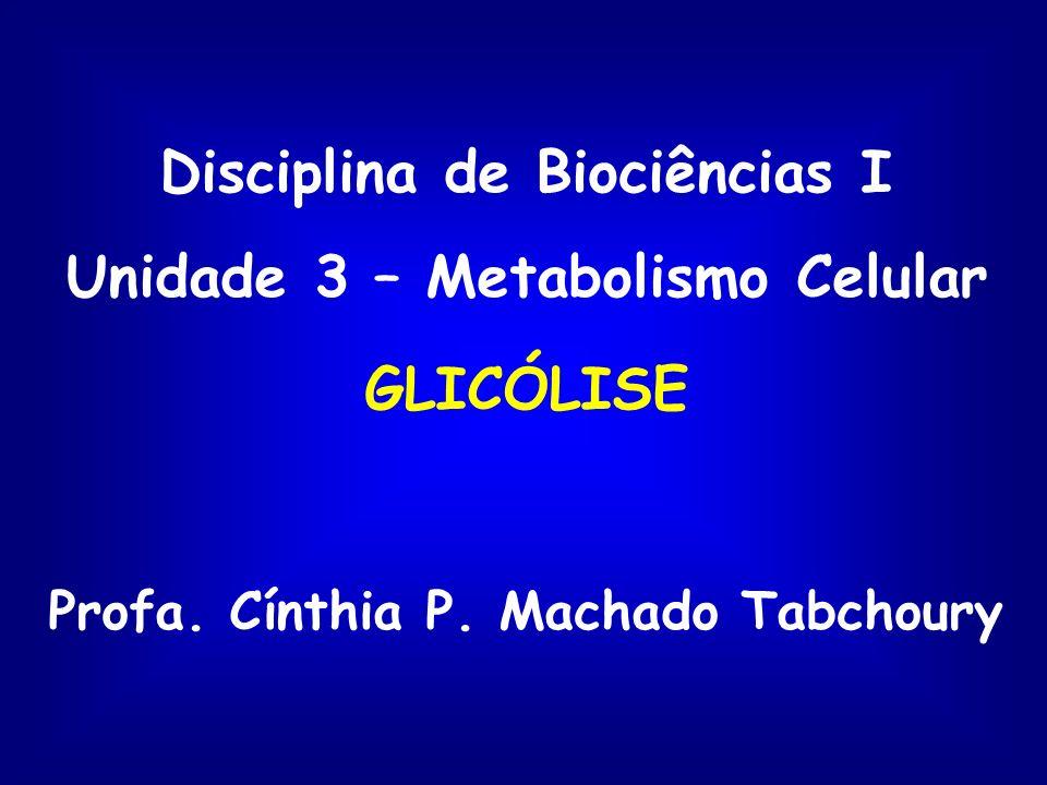 Disciplina de Biociências I Unidade 3 – Metabolismo Celular GLICÓLISE Profa.