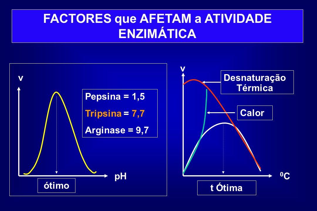 FACTORES que AFETAM a ATIVIDADE ENZIMÁTICA v pH ótimo Pepsina = 1,5 Tripsina = 7,7 Arginase = 9,7 v 0C0C Calor Desnaturação Térmica t Ótima