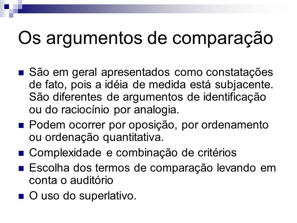 Os argumentos de comparação São em geral apresentados como constatações de fato, pois a idéia de medida está subjacente. São diferentes de argumentos