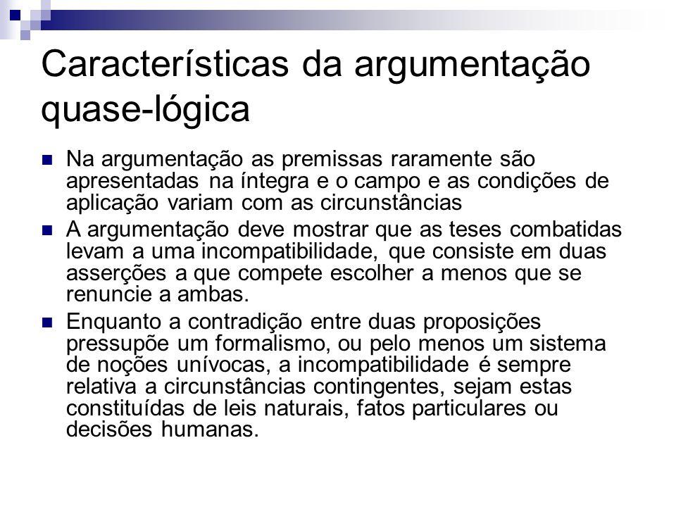 Características da argumentação quase-lógica Na argumentação as premissas raramente são apresentadas na íntegra e o campo e as condições de aplicação