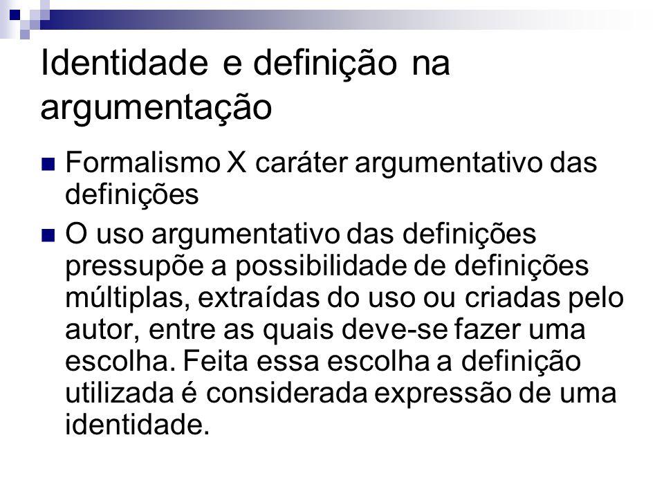 Identidade e definição na argumentação Formalismo X caráter argumentativo das definições O uso argumentativo das definições pressupõe a possibilidade