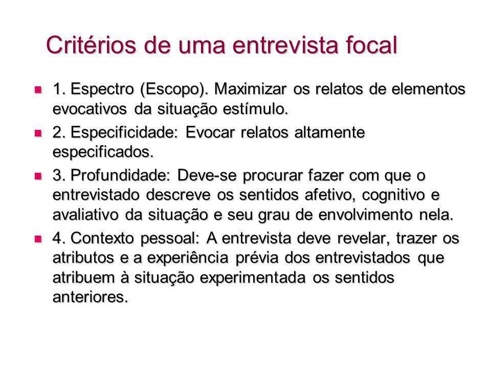 Critérios de uma entrevista focal 1.Espectro (Escopo).
