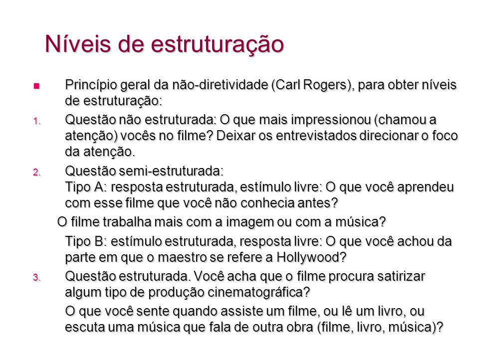 Níveis de estruturação Princípio geral da não-diretividade (Carl Rogers), para obter níveis de estruturação: Princípio geral da não-diretividade (Carl Rogers), para obter níveis de estruturação: 1.