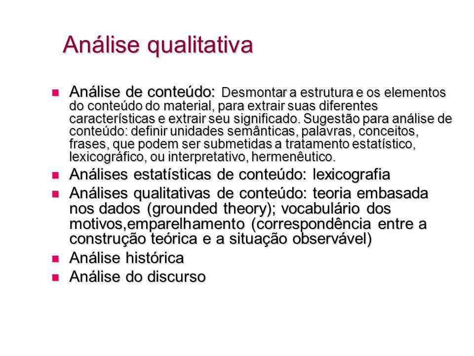 Análise qualitativa Análise de conteúdo: Desmontar a estrutura e os elementos do conteúdo do material, para extrair suas diferentes características e extrair seu significado.
