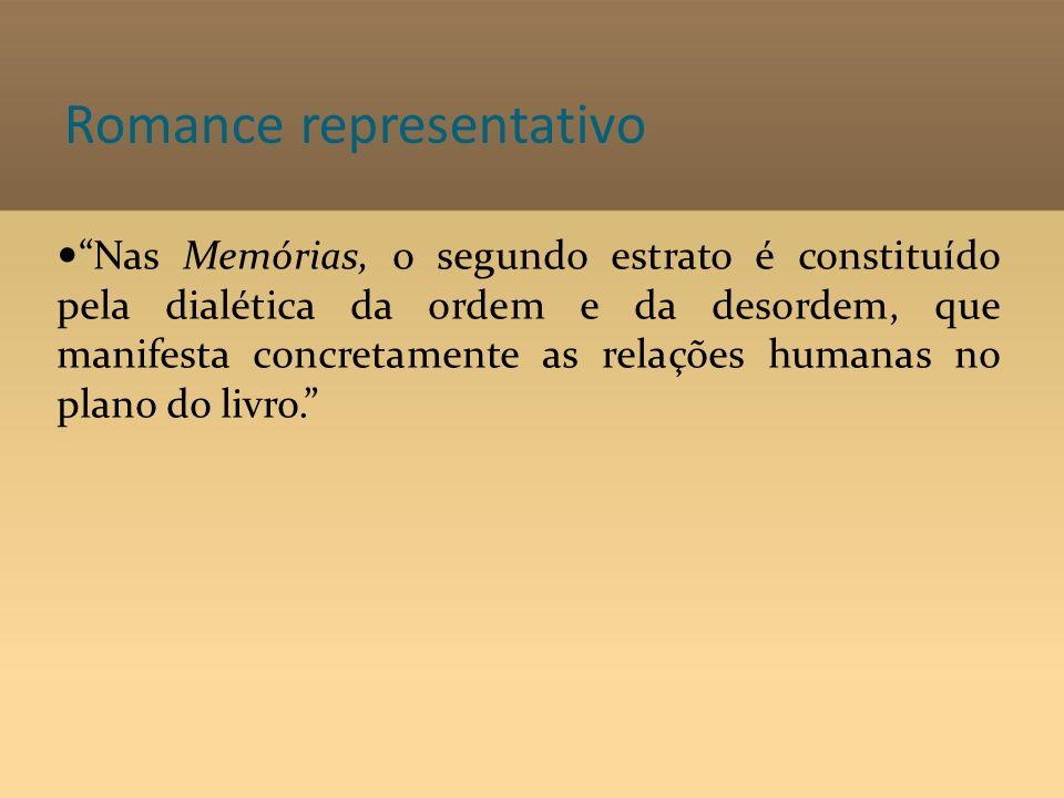 Romance representativo Nas Memórias, o segundo estrato é constituído pela dialética da ordem e da desordem, que manifesta concretamente as relações hu