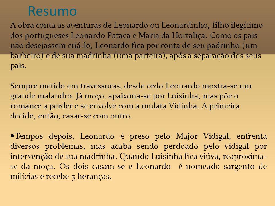 Resumo A obra conta as aventuras de Leonardo ou Leonardinho, filho ilegítimo dos portugueses Leonardo Pataca e Maria da Hortaliça. Como os pais não de