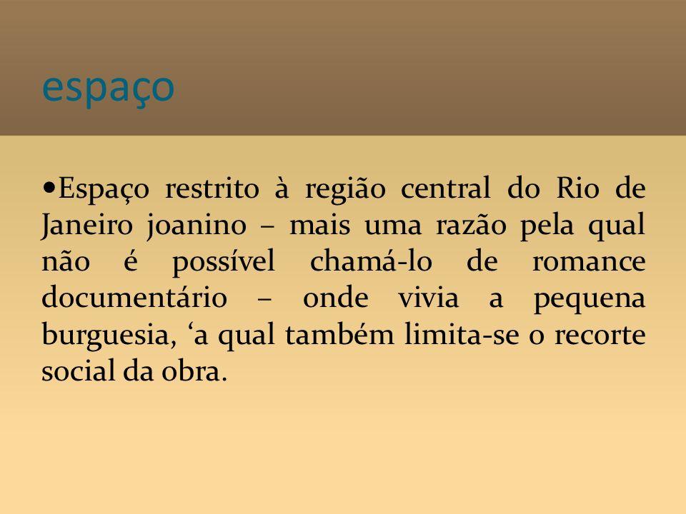 espaço Espaço restrito à região central do Rio de Janeiro joanino – mais uma razão pela qual não é possível chamá-lo de romance documentário – onde vi