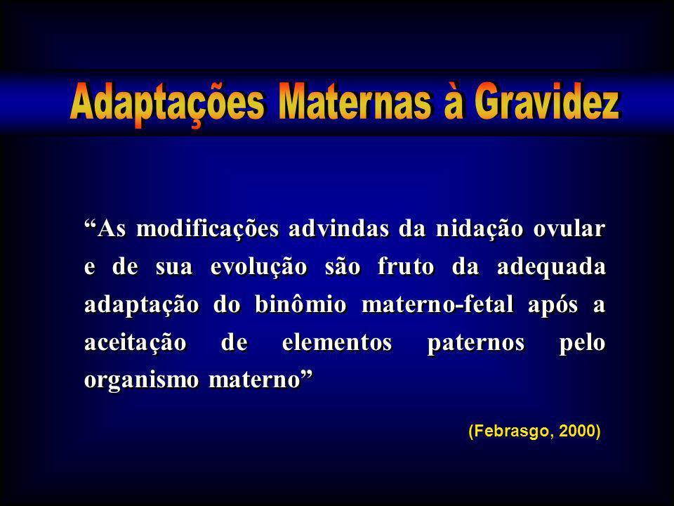 As modificações advindas da nidação ovular e de sua evolução são fruto da adequada adaptação do binômio materno-fetal após a aceitação de elementos pa