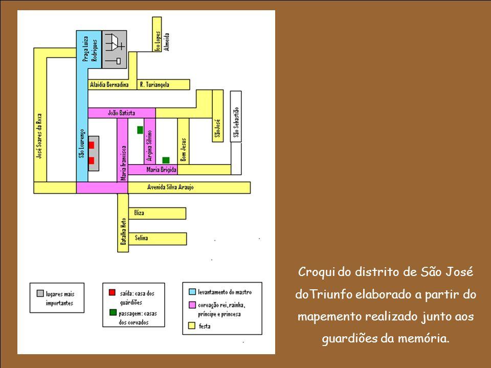 Croqui do distrito de São José doTriunfo elaborado a partir do mapemento realizado junto aos guardiões da memória.