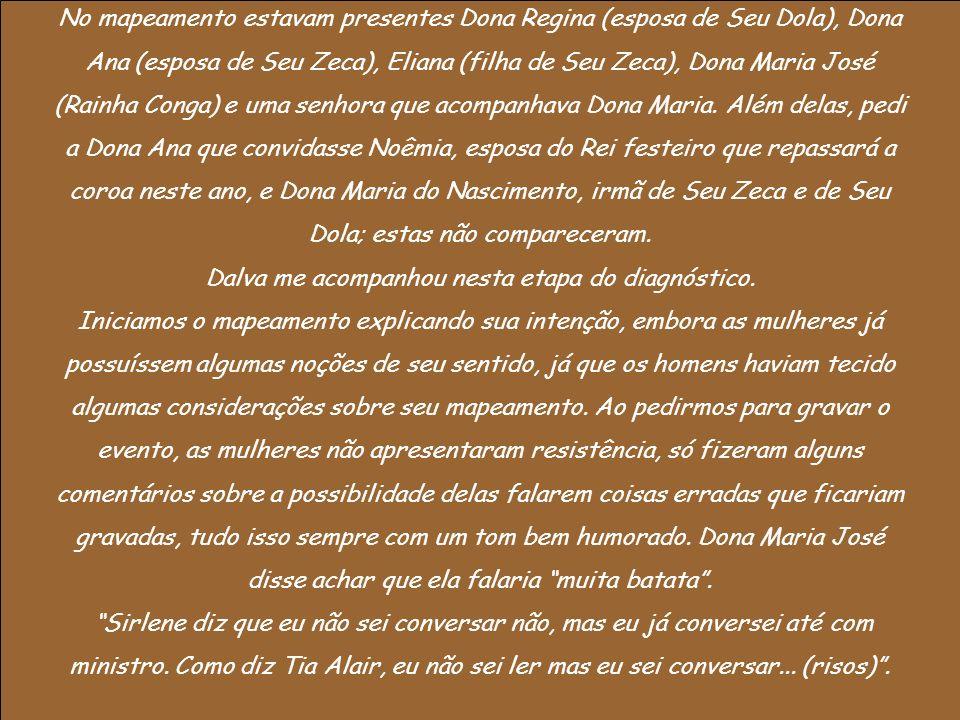 No mapeamento estavam presentes Dona Regina (esposa de Seu Dola), Dona Ana (esposa de Seu Zeca), Eliana (filha de Seu Zeca), Dona Maria José (Rainha C