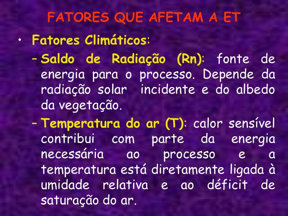 FATORES QUE AFETAM A ET Fatores Climáticos: –Saldo de Radiação (Rn): fonte de energia para o processo. Depende da radiação solar incidente e do albedo