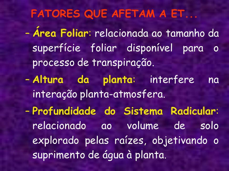 FATORES QUE AFETAM A ET... –Área Foliar: relacionada ao tamanho da superfície foliar disponível para o processo de transpiração. –Altura da planta: in