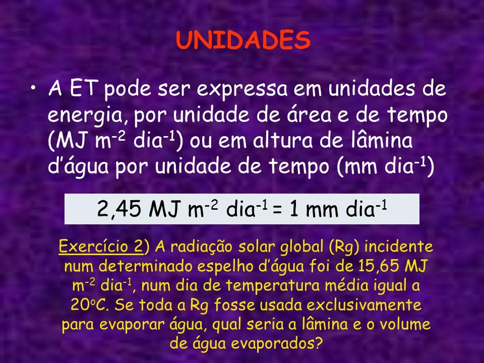 FATORES DE CONVERSÃO Unidades LâminaVolume por unidade de área Energia por unidade de área mm dia -1 m 3 ha -1 dia -1 L s -1 ha -1 MJ m -2 dia -1 1 mm dia -1 1100,1162,45 1 m 3 ha -1 dia -1 0,110,0120,245 1 L s -1 ha -1 8,64086,40121,17 1 MJ m -2 dia -1 0,4084,0820,0471