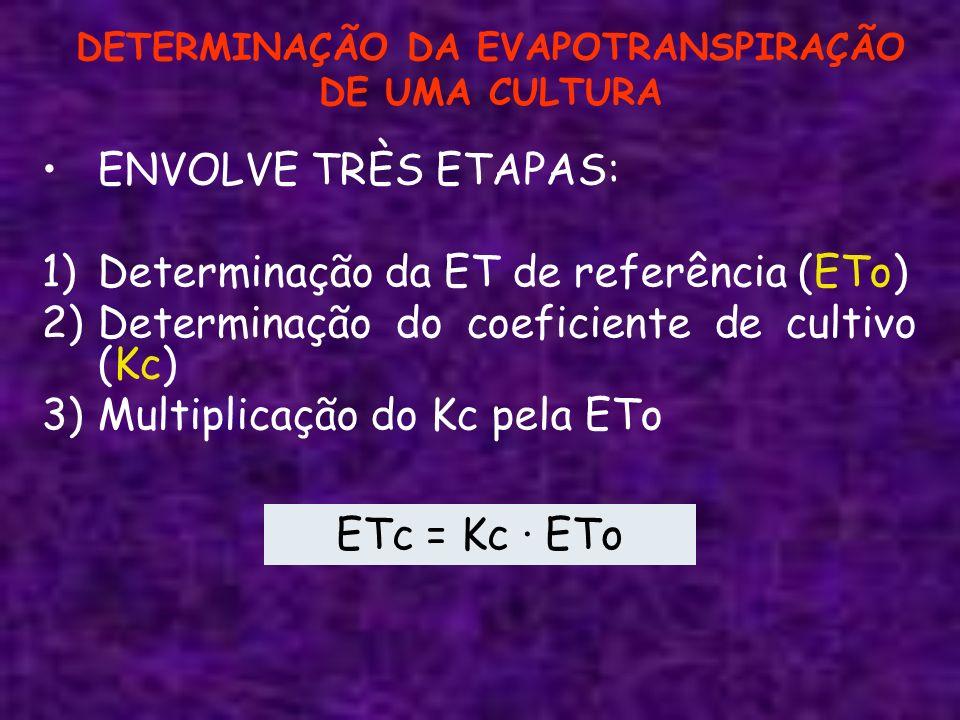 DETERMINAÇÃO DA EVAPOTRANSPIRAÇÃO DE UMA CULTURA ENVOLVE TRÈS ETAPAS: 1)Determinação da ET de referência (ETo) 2)Determinação do coeficiente de cultiv