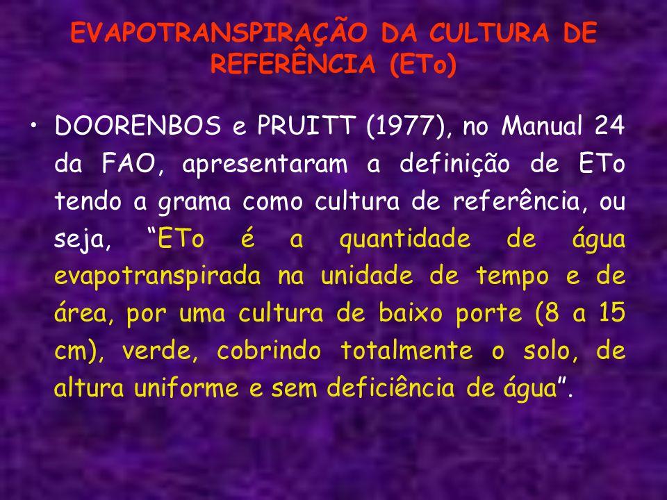EVAPOTRANSPIRAÇÃO DA CULTURA DE REFERÊNCIA (ETo) DOORENBOS e PRUITT (1977), no Manual 24 da FAO, apresentaram a definição de ETo tendo a grama como cu