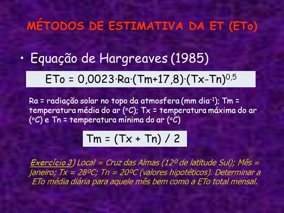 MÉTODOS DE ESTIMATIVA DA ET (ETo) Equação de Hargreaves (1985) ETo = 0,0023·Ra·(Tm+17,8)·(Tx-Tn) 0,5 Ra = radiação solar no topo da atmosfera (mm dia