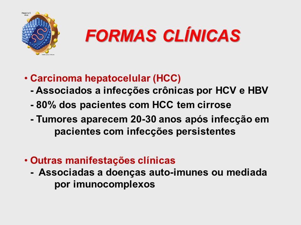 FORMAS CLÍNICAS Carcinoma hepatocelular (HCC) - Associados a infecções crônicas por HCV e HBV - 80% dos pacientes com HCC tem cirrose - Tumores aparec