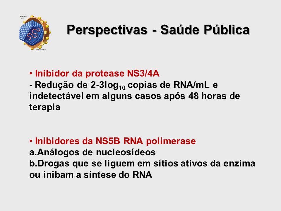 Inibidor da protease NS3/4A - Redução de 2-3log 10 copias de RNA/mL e indetectável em alguns casos após 48 horas de terapia Inibidores da NS5B RNA pol