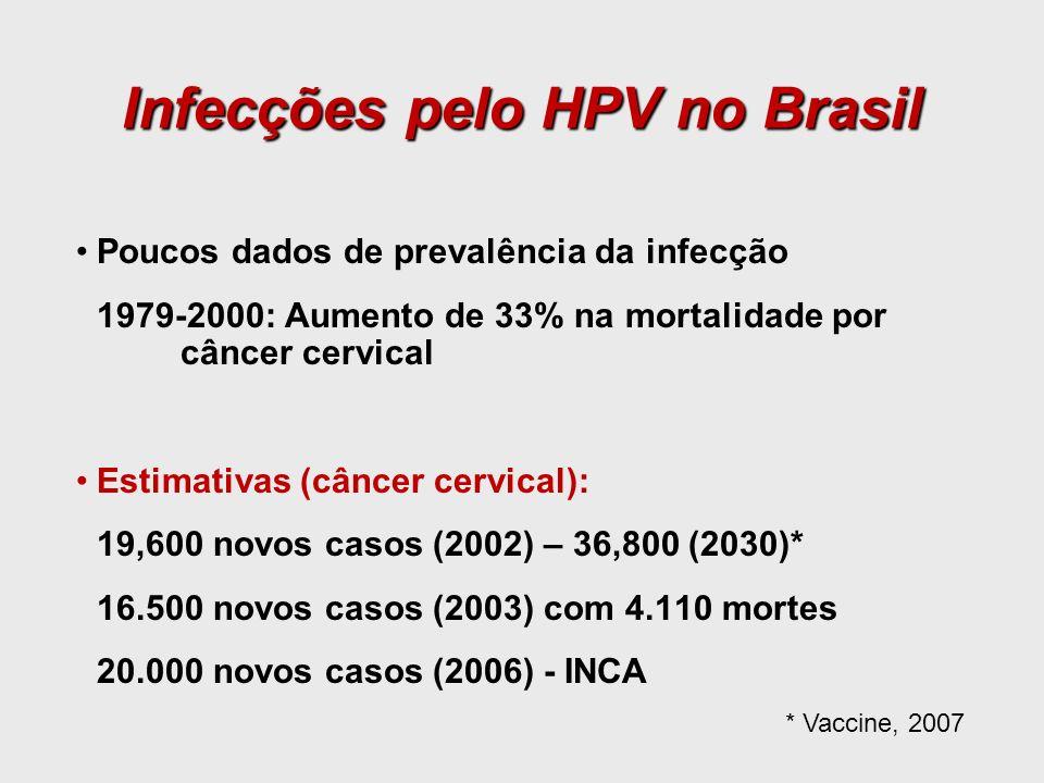 Poucos dados de prevalência da infecção 1979-2000: Aumento de 33% na mortalidade por câncer cervical Estimativas (câncer cervical): 19,600 novos casos