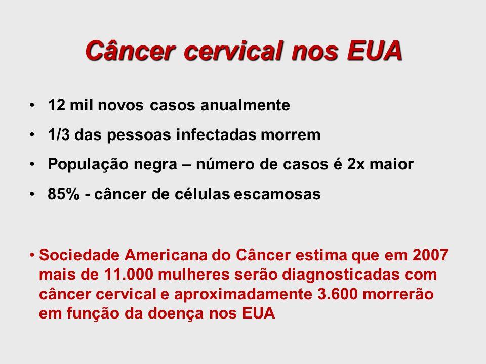 12 mil novos casos anualmente 1/3 das pessoas infectadas morrem População negra – número de casos é 2x maior 85% - câncer de células escamosas Socieda