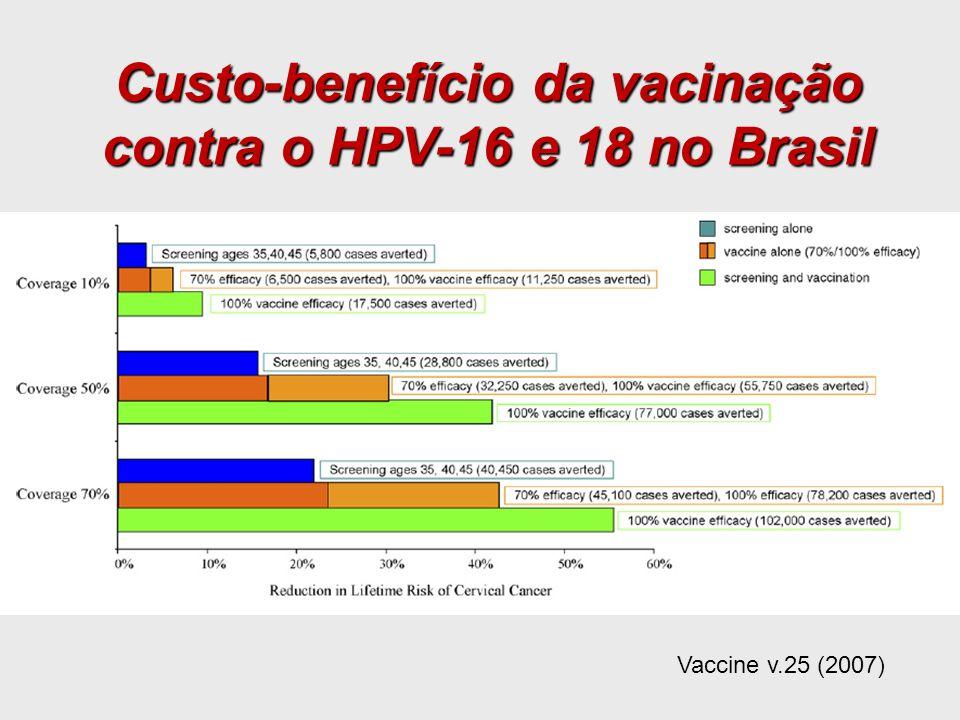 Custo-benefício da vacinação contra o HPV-16 e 18 no Brasil Vaccine v.25 (2007)