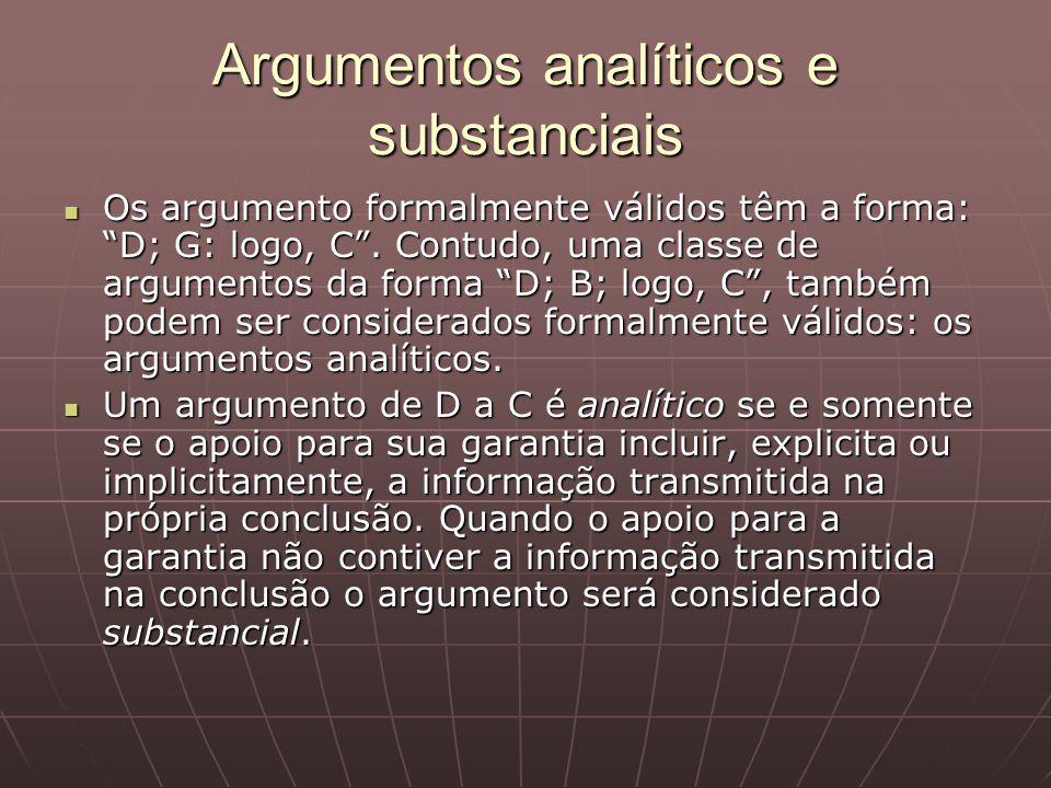Argumentos analíticos e substanciais Os argumento formalmente válidos têm a forma: D; G: logo, C. Contudo, uma classe de argumentos da forma D; B; log