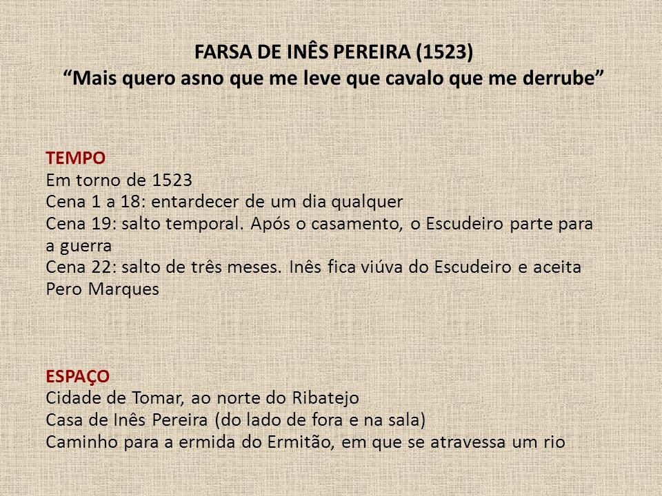 TEMPO Em torno de 1523 Cena 1 a 18: entardecer de um dia qualquer Cena 19: salto temporal. Após o casamento, o Escudeiro parte para a guerra Cena 22: