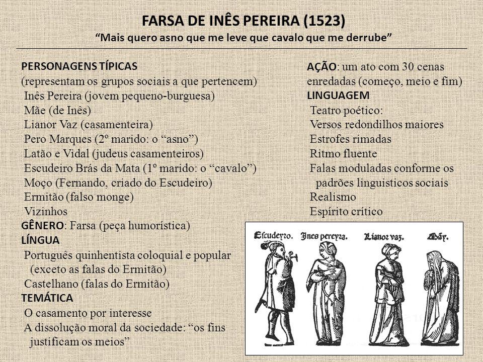 FARSA DE INÊS PEREIRA (1523) Mais quero asno que me leve que cavalo que me derrube PERSONAGENS TÍPICAS (representam os grupos sociais a que pertencem)
