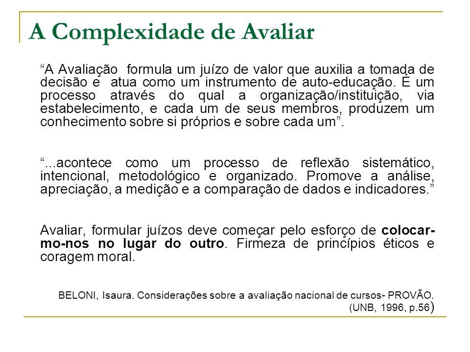 A Complexidade de Avaliar A Avaliação formula um juízo de valor que auxilia a tomada de decisão e atua como um instrumento de auto-educação. É um proc